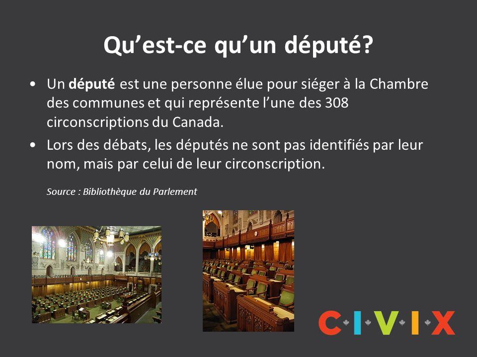Quest-ce quun député? Un député est une personne élue pour siéger à la Chambre des communes et qui représente lune des 308 circonscriptions du Canada.