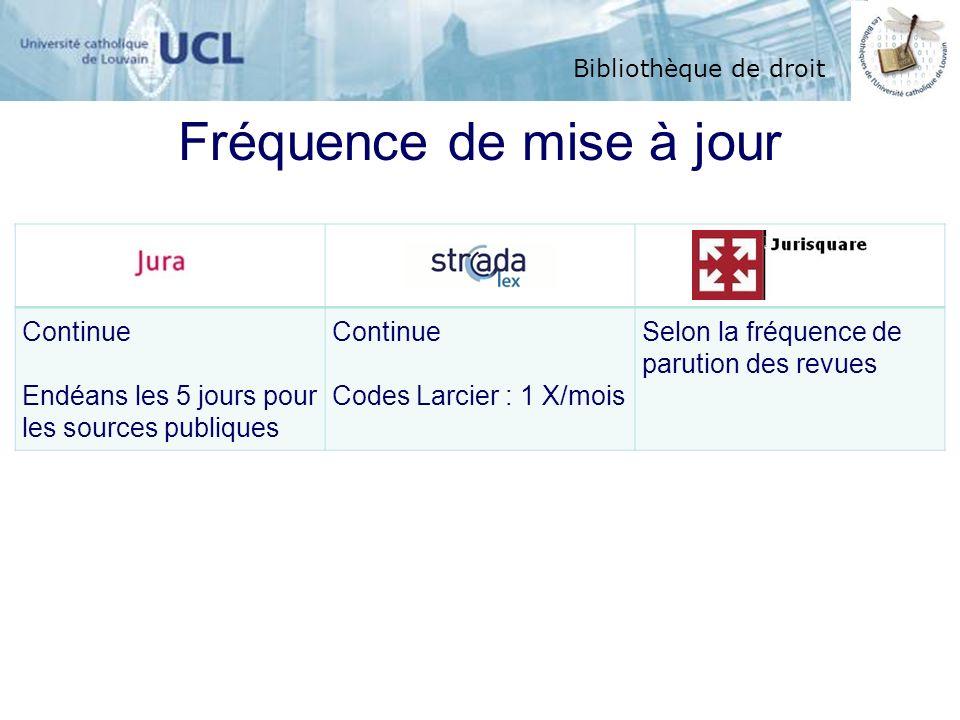 Bibliothèque de droit Fréquence de mise à jour Continue Endéans les 5 jours pour les sources publiques Continue Codes Larcier : 1 X/mois Selon la fréq