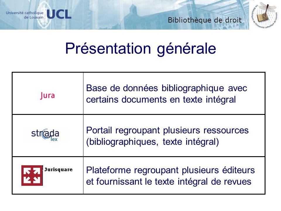 Bibliothèque de droit Présentation générale Base de données bibliographique avec certains documents en texte intégral Portail regroupant plusieurs res