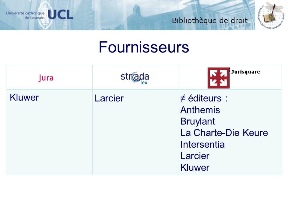 Bibliothèque de droit Kluwer Larcier éditeurs : Anthemis Bruylant La Charte-Die Keure Intersentia Larcier Kluwer Fournisseurs