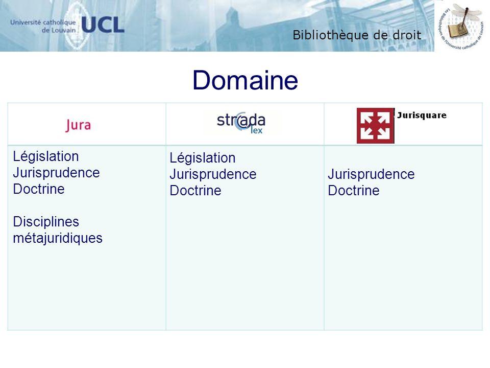 Bibliothèque de droit Domaine Législation Jurisprudence Doctrine Disciplines métajuridiques Législation Jurisprudence Doctrine Jurisprudence Doctrine