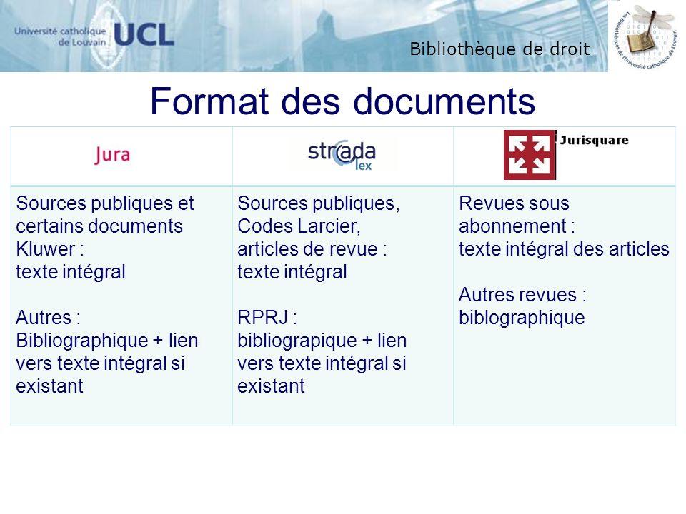 Bibliothèque de droit Format des documents Sources publiques et certains documents Kluwer : texte intégral Autres : Bibliographique + lien vers texte