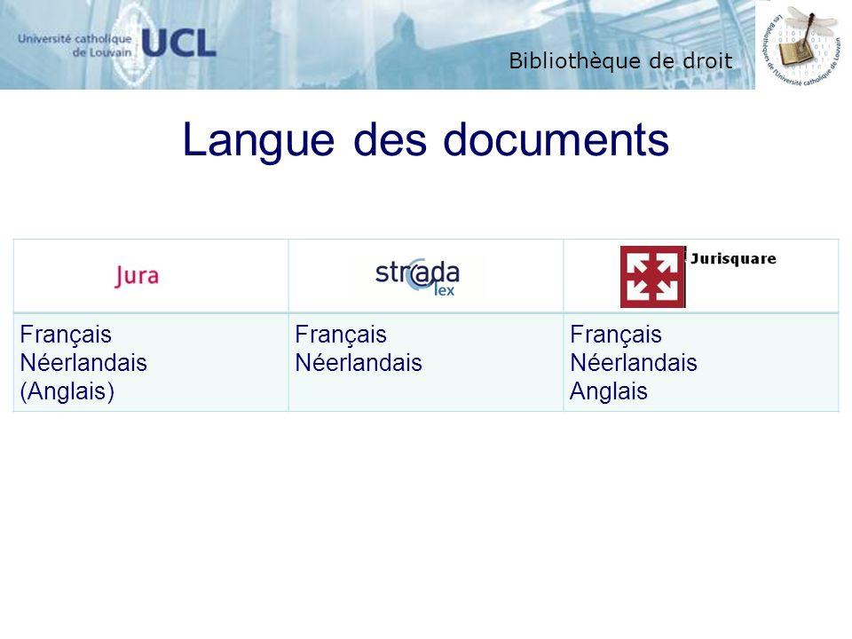 Bibliothèque de droit Langue des documents Français Néerlandais (Anglais) Français Néerlandais Anglais