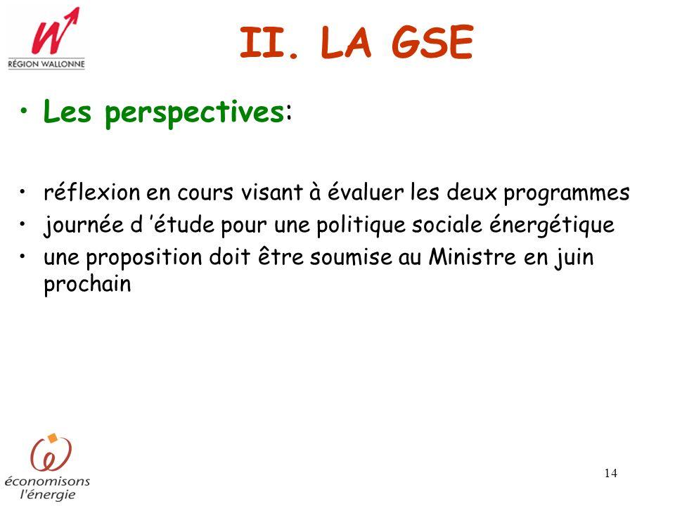 14 II. LA GSE Les perspectives: réflexion en cours visant à évaluer les deux programmes journée d étude pour une politique sociale énergétique une pro