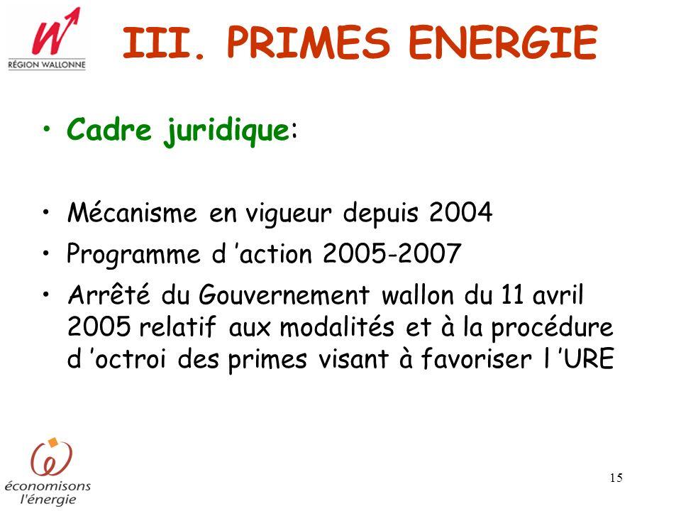 15 III. PRIMES ENERGIE Cadre juridique: Mécanisme en vigueur depuis 2004 Programme d action 2005-2007 Arrêté du Gouvernement wallon du 11 avril 2005 r