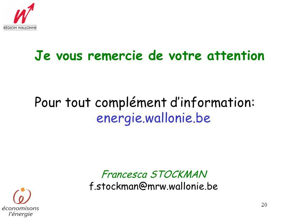 20 Je vous remercie de votre attention Pour tout complément dinformation: energie.wallonie.be Francesca STOCKMAN f.stockman@mrw.wallonie.be