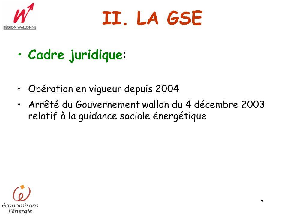 7 II. LA GSE Cadre juridique: Opération en vigueur depuis 2004 Arrêté du Gouvernement wallon du 4 décembre 2003 relatif à la guidance sociale énergéti