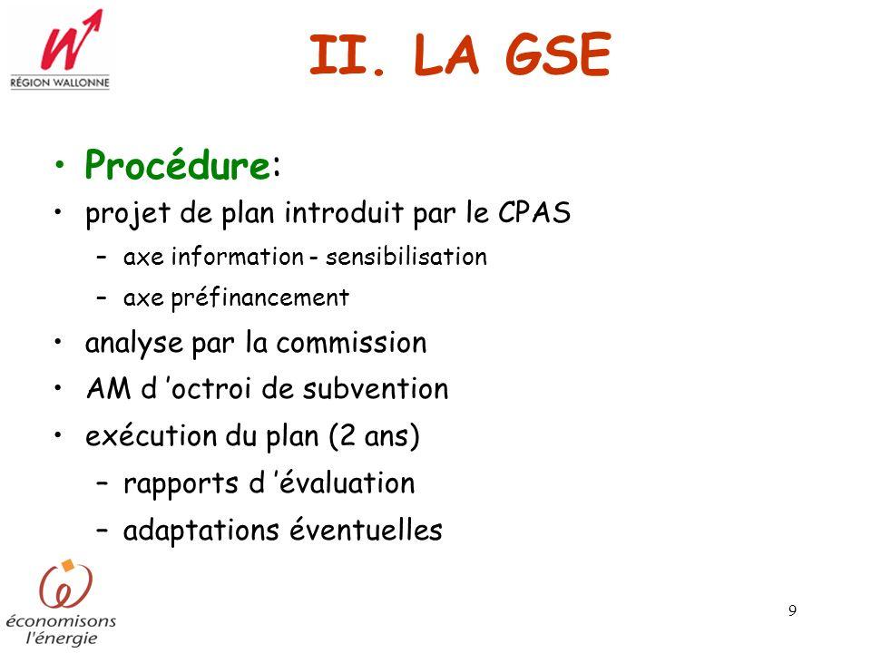 9 II. LA GSE Procédure: projet de plan introduit par le CPAS –axe information - sensibilisation –axe préfinancement analyse par la commission AM d oct