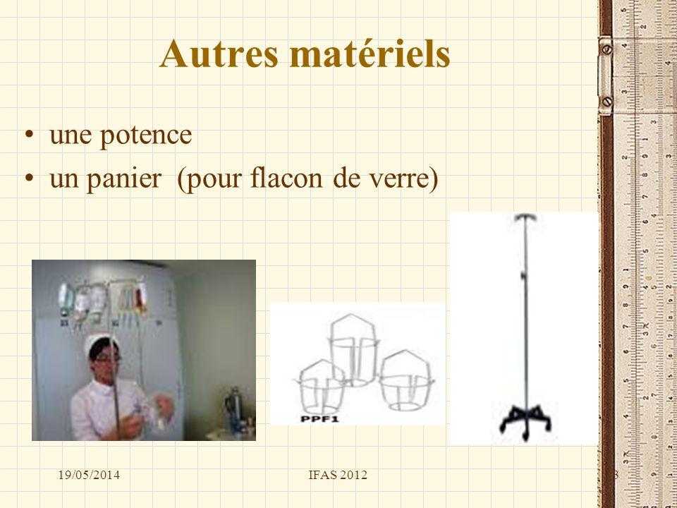Autres matériels une potence un panier (pour flacon de verre) 19/05/2014IFAS 201213