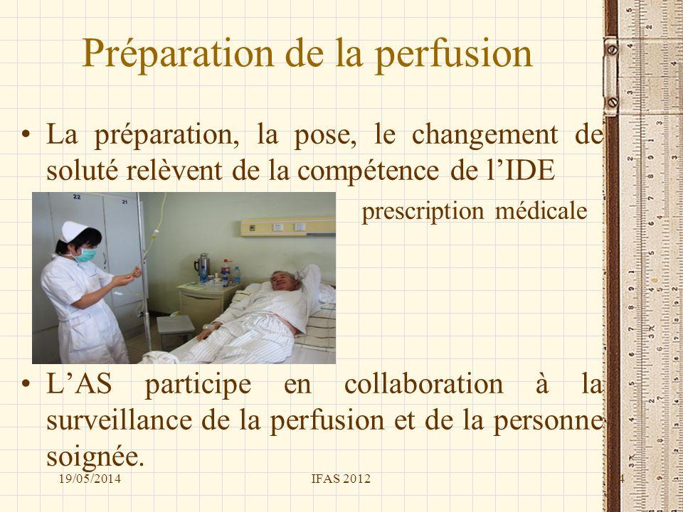 Préparation de la perfusion La préparation, la pose, le changement de soluté relèvent de la compétence de lIDE prescription médicale LAS participe en