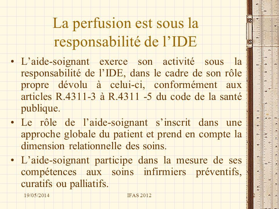 La perfusion est sous la responsabilité de lIDE Laide-soignant exerce son activité sous la responsabilité de lIDE, dans le cadre de son rôle propre dé