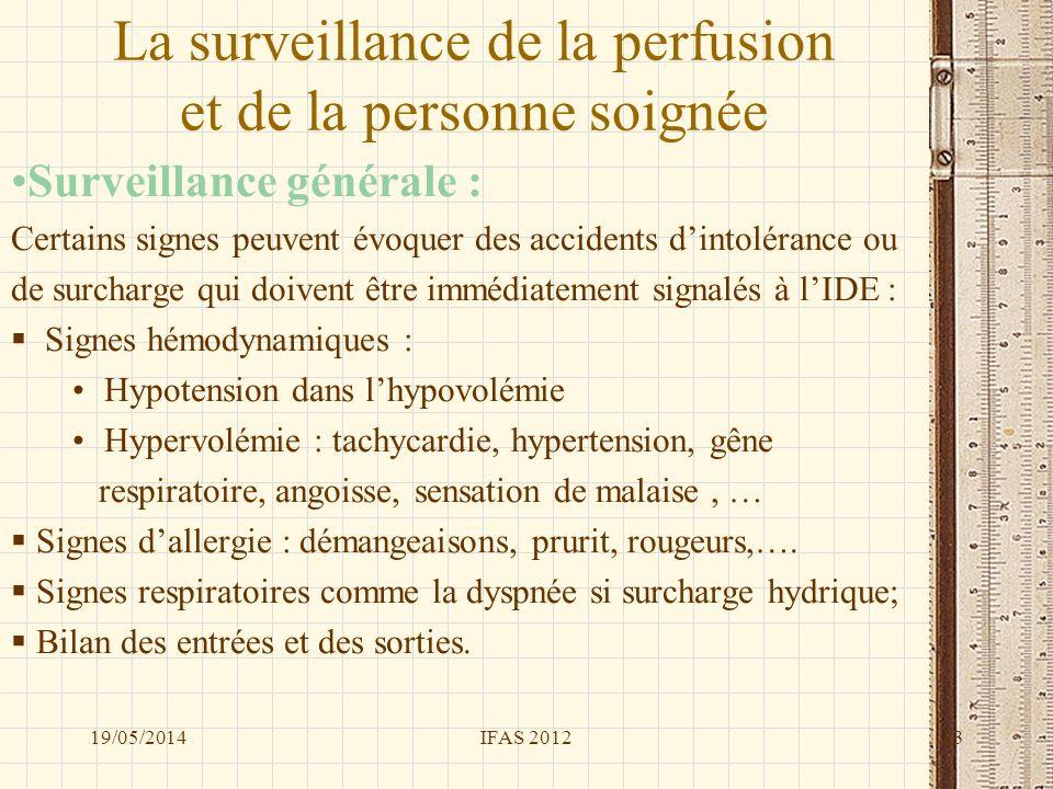 La surveillance de la perfusion et de la personne soignée Surveillance générale : Certains signes peuvent évoquer des accidents dintolérance ou de sur