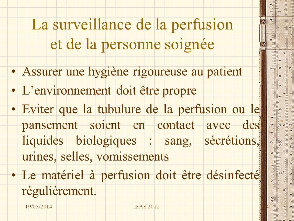 La surveillance de la perfusion et de la personne soignée Assurer une hygiène rigoureuse au patient Lenvironnement doit être propre Eviter que la tubu