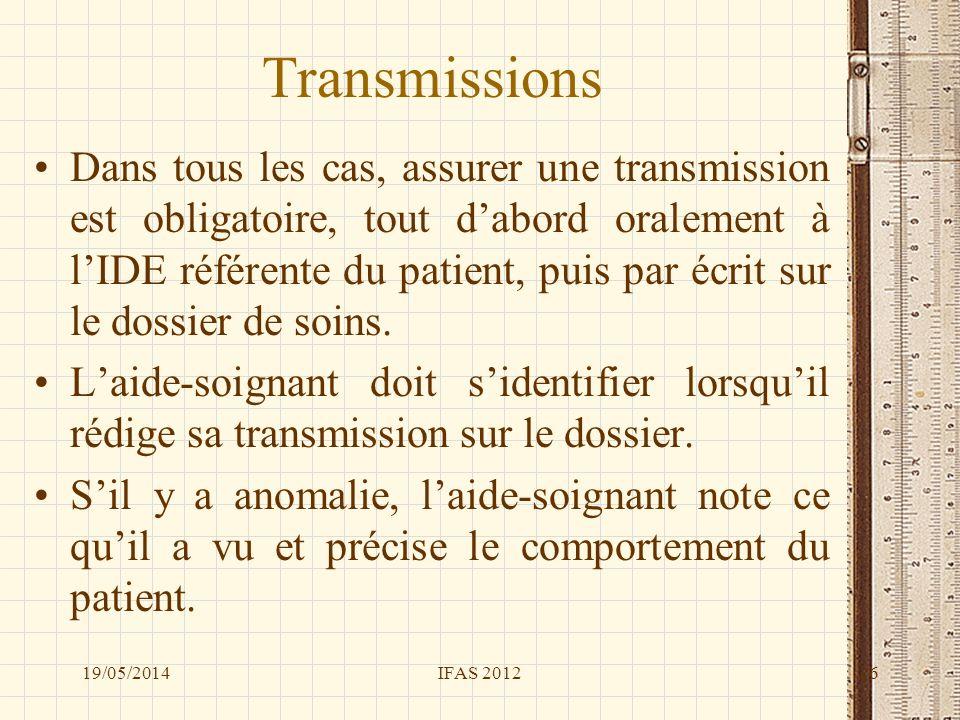 Transmissions Dans tous les cas, assurer une transmission est obligatoire, tout dabord oralement à lIDE référente du patient, puis par écrit sur le do