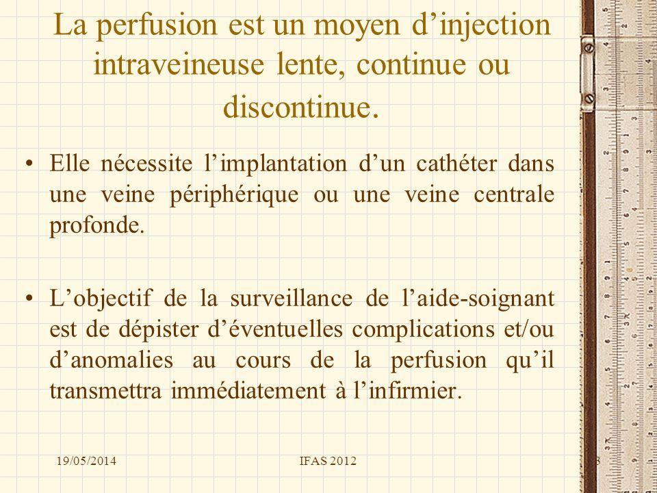 La perfusion est un moyen dinjection intraveineuse lente, continue ou discontinue. Elle nécessite limplantation dun cathéter dans une veine périphériq