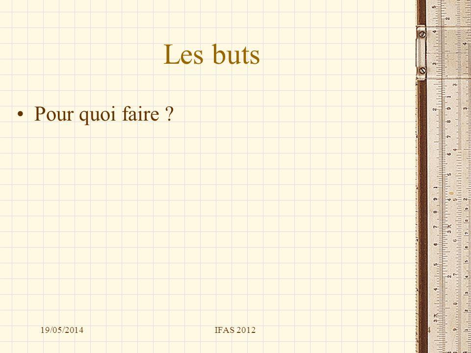 Les buts Pour quoi faire ? 19/05/20144IFAS 2012