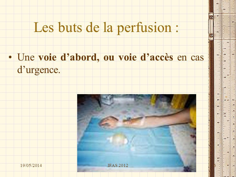 Une perfusion Cest quoi ? De quoi est-elle composée ? 19/05/2014IFAS 20127