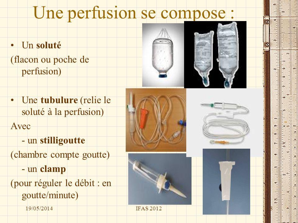 Une perfusion se compose : Un soluté (flacon ou poche de perfusion) Une tubulure (relie le soluté à la perfusion) Avec - un stilligoutte (chambre comp