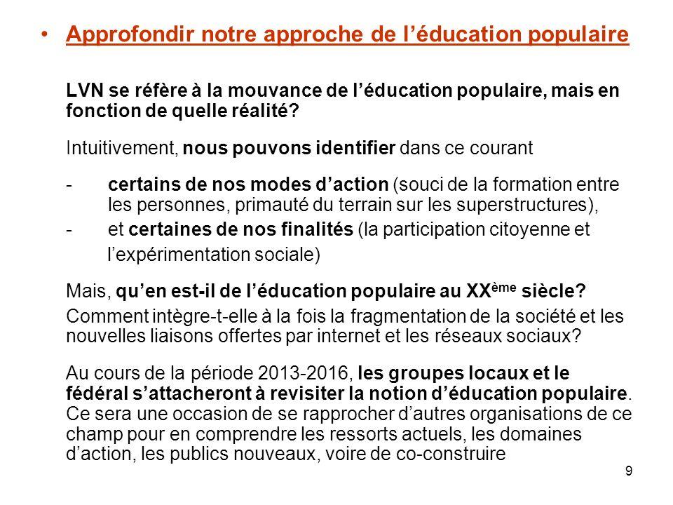 9 Approfondir notre approche de léducation populaire LVN se réfère à la mouvance de léducation populaire, mais en fonction de quelle réalité.