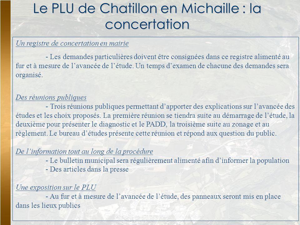 Le PLU de Chatillon en Michaille : la concertation Un registre de concertation en mairie - Les demandes particulières doivent être consignées dans ce
