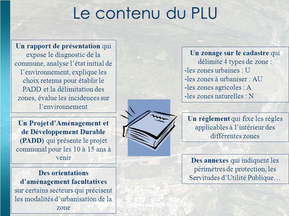 Le contenu du PLU Un rapport de présentation qui expose le diagnostic de la commune, analyse létat initial de lenvironnement, explique les choix reten
