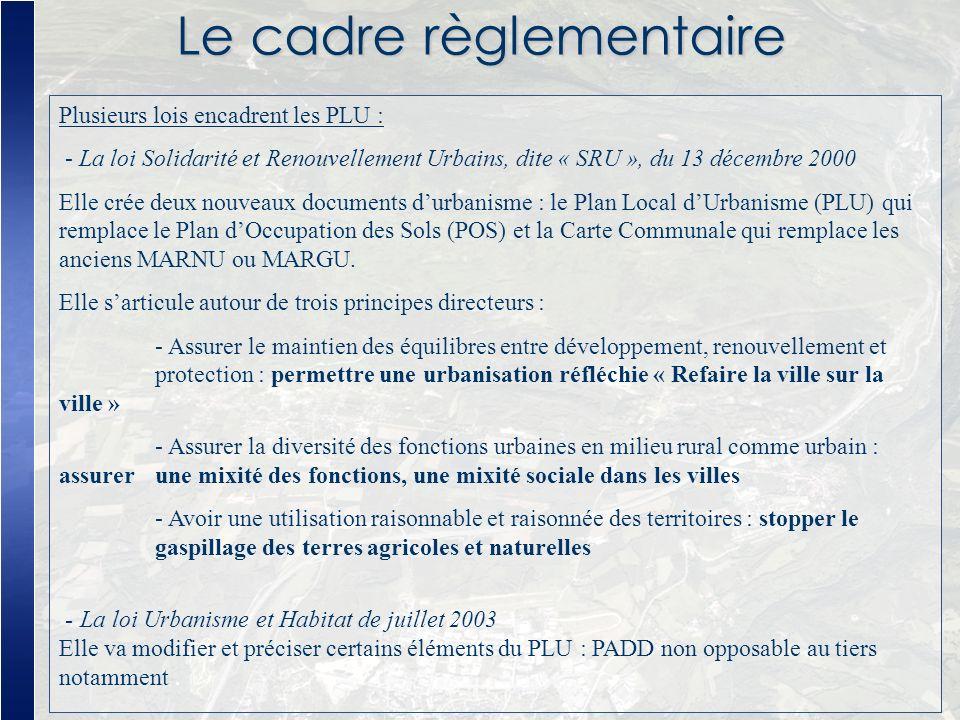 Le cadre règlementaire Plusieurs lois encadrent les PLU : - La loi Solidarité et Renouvellement Urbains, dite « SRU », du 13 décembre 2000 Elle crée d