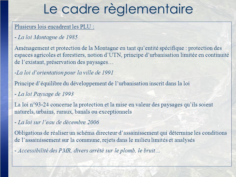 Le cadre règlementaire Plusieurs lois encadrent les PLU : - La loi Montagne de 1985 Aménagement et protection de la Montagne en tant quentité spécifiq