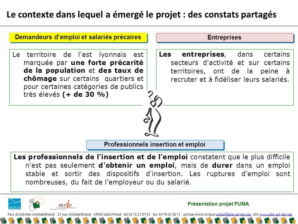 Présentation projet PUMA Parc d Activités Aristide Briand 21 rue Aristide Briand 69800 Saint-Priest tél 04 72 23 57 63 fax 04 78 20 05 11 adresse électronique uniest@plie-uni-est.org site www.plie-uni-est.orguniest@plie-uni-est.orgwww.plie-uni-est.org Pour rejoindre le projet en 2011 Vous souhaiteriez en savoir plus pour vous engager dans cette démarche participative, contactez : Nnady Makangu, Chargée de Mission Relations Entreprise Intercommunale Fanny Michel, Chargée de Mission Uni-Est : 04 72 23 57 63