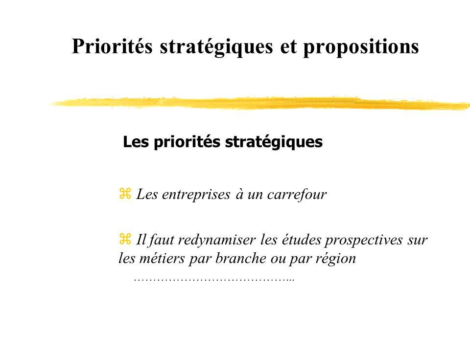 Priorités stratégiques et propositions Les priorités stratégiques z Les entreprises à un carrefour Il faut redynamiser les études prospectives sur les métiers par branche ou par région …………………………………...