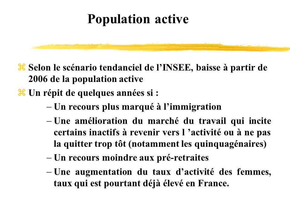 Population active zSelon le scénario tendanciel de lINSEE, baisse à partir de 2006 de la population active zUn répit de quelques années si : Un recour