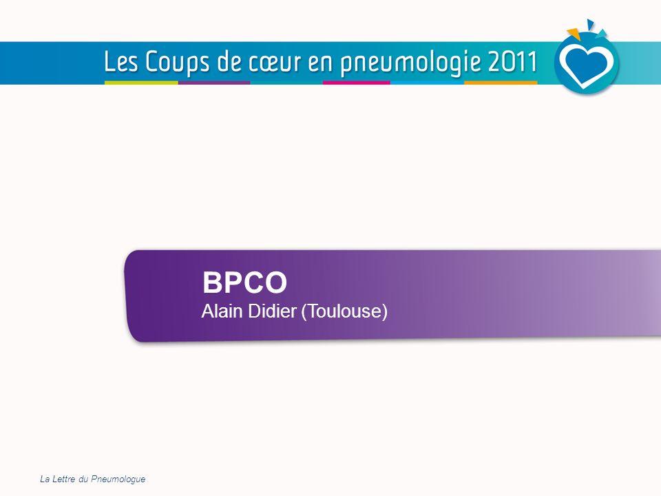 BPCO La fréquence des hospitalisations pour exacerbations de BPCO ne cesse daugmenter en France Augmentation plus rapide chez les femmes que chez les hommes La mortalité hospitalière diminue légèrement Au cours des exacerbations, lélévation des biomarqueurs de souffrance myocardique (troponine et NT-proBNP) est corrélée au risque de décès à court terme Ladministration quotidienne dazithromycine, en plus du traitement de fond conventionnel, diminue la fréquence des exacerbations chez les patients à risque dexacerbations Les exacerbations de BPCO restent un problème majeur de santé publique nécessitant un effort de prévention et de prise en charge En résumé, pour la pratique La Lettre du Pneumologue 12