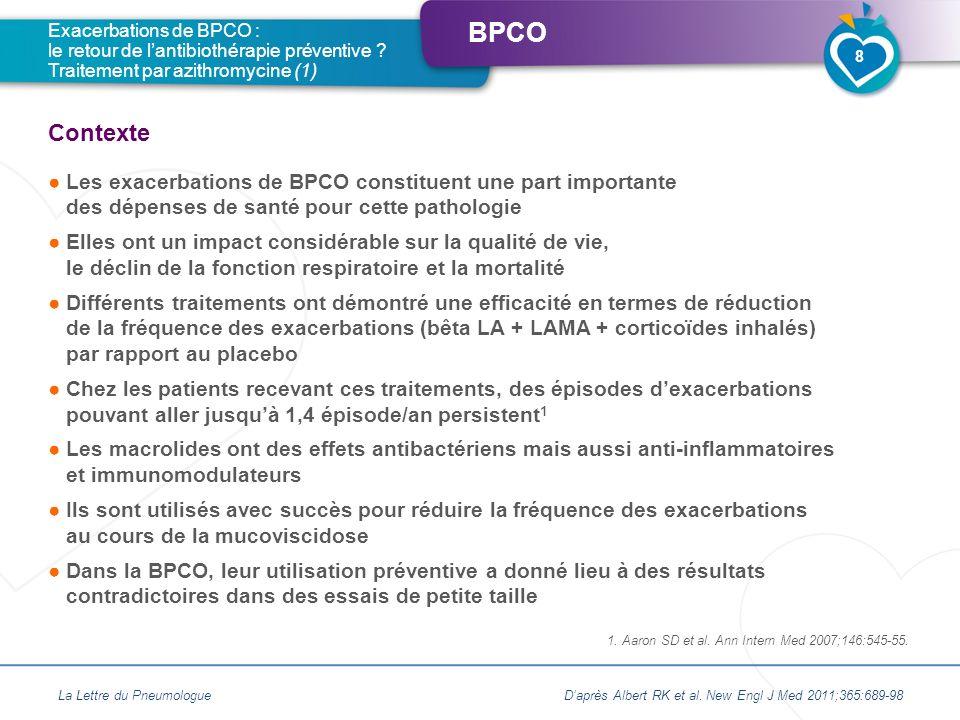 BPCO Les exacerbations de BPCO constituent une part importante des dépenses de santé pour cette pathologie Elles ont un impact considérable sur la qua