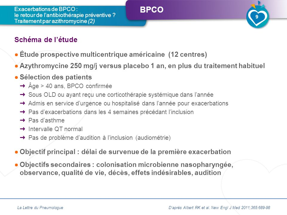 BPCO Étude prospective multicentrique américaine (12 centres) Azythromycine 250 mg/j versus placebo 1 an, en plus du traitement habituel Sélection des