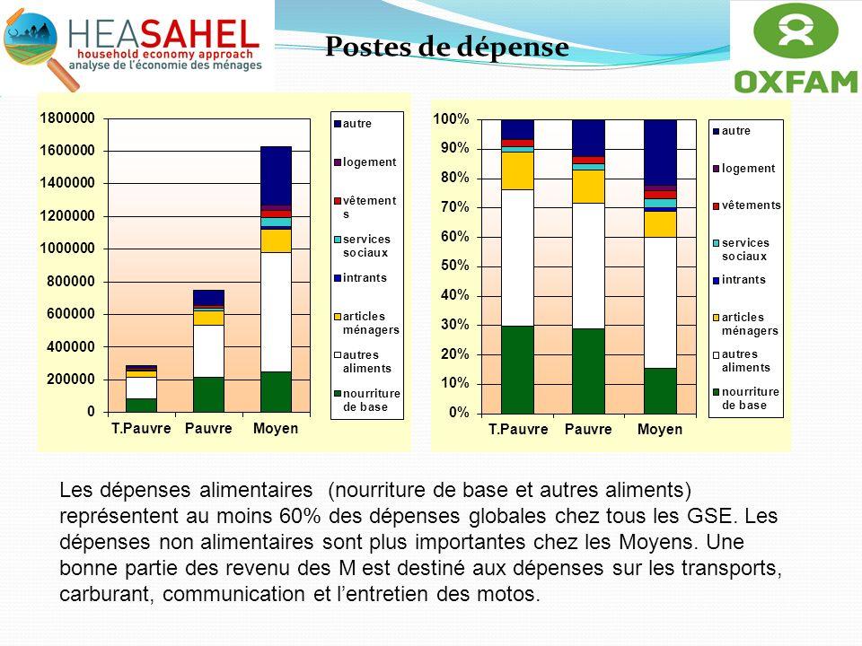 Postes de dépense Les dépenses alimentaires (nourriture de base et autres aliments) représentent au moins 60% des dépenses globales chez tous les GSE.