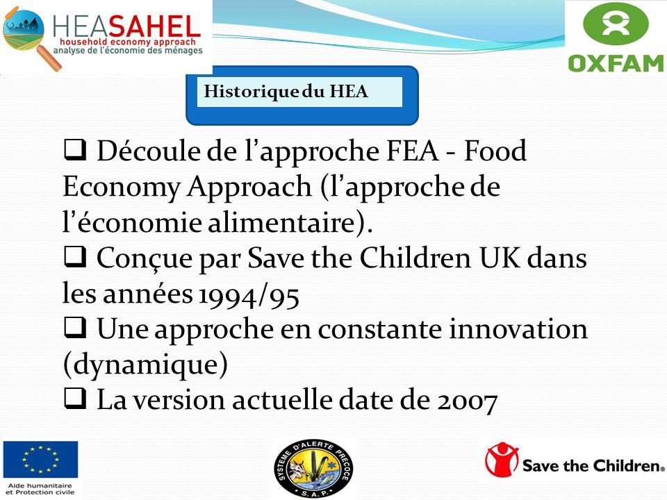 Historique du HEA Découle de lapproche FEA - Food Economy Approach (lapproche de léconomie alimentaire). Conçue par Save the Children UK dans les anné