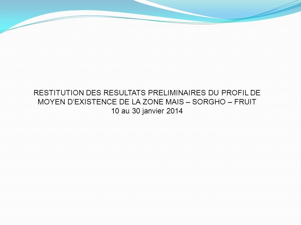 RESTITUTION DES RESULTATS PRELIMINAIRES DU PROFIL DE MOYEN DEXISTENCE DE LA ZONE MAIS – SORGHO – FRUIT 10 au 30 janvier 2014