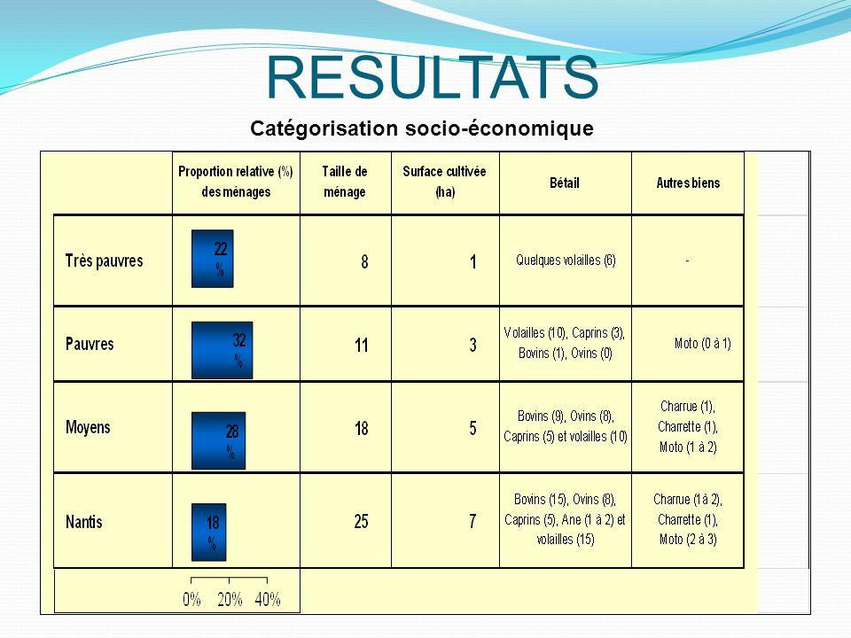 RESULTATS Catégorisation socio-économique