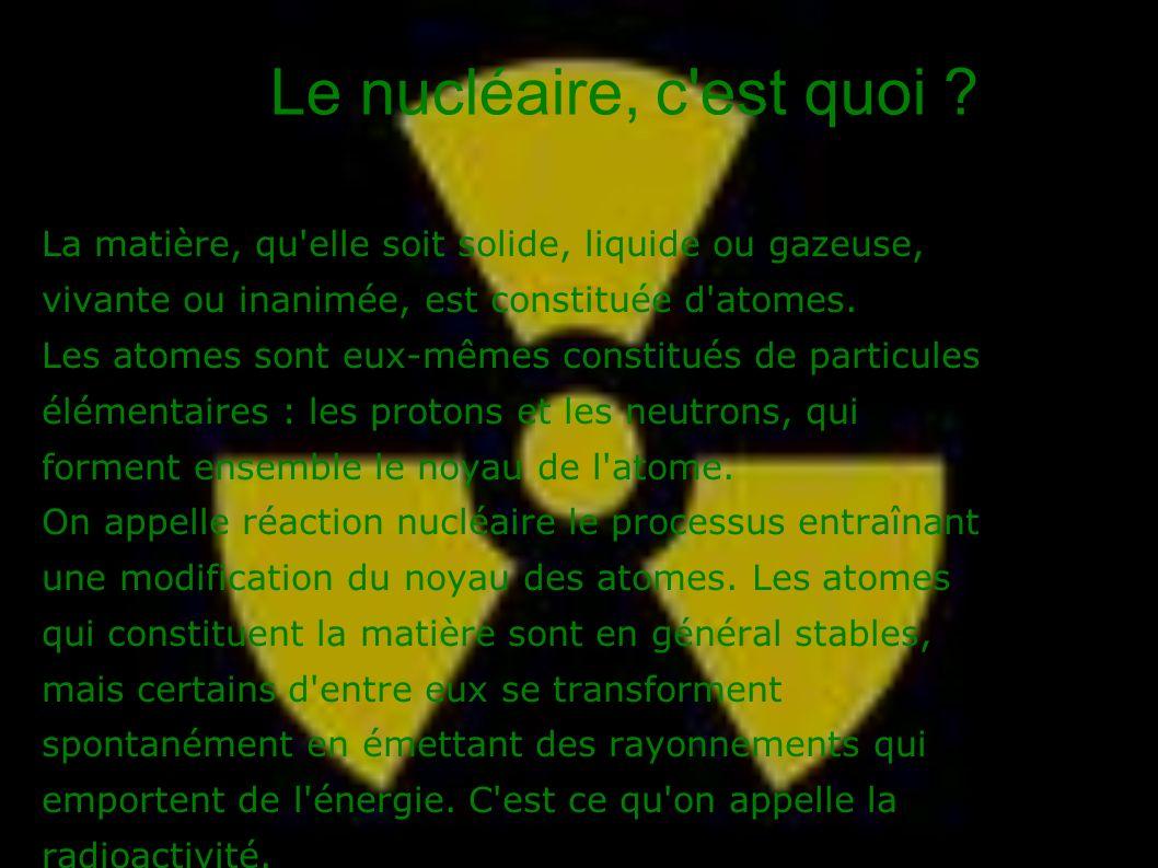 Le nucléaire, c'est quoi ? La matière, qu'elle soit solide, liquide ou gazeuse, vivante ou inanimée, est constituée d'atomes. Les atomes sont eux-même
