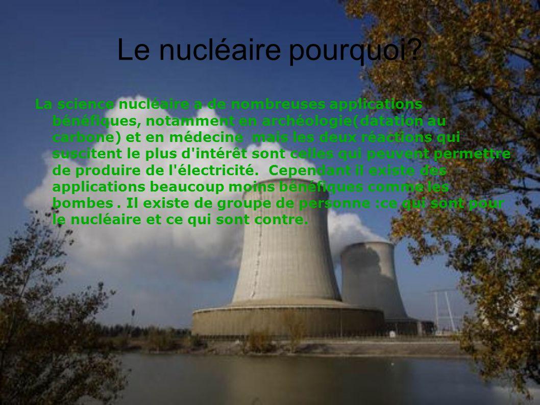 Le nucléaire pourquoi? La science nucléaire a de nombreuses applications bénéfiques, notamment en archéologie(datation au carbone) et en médecine mais