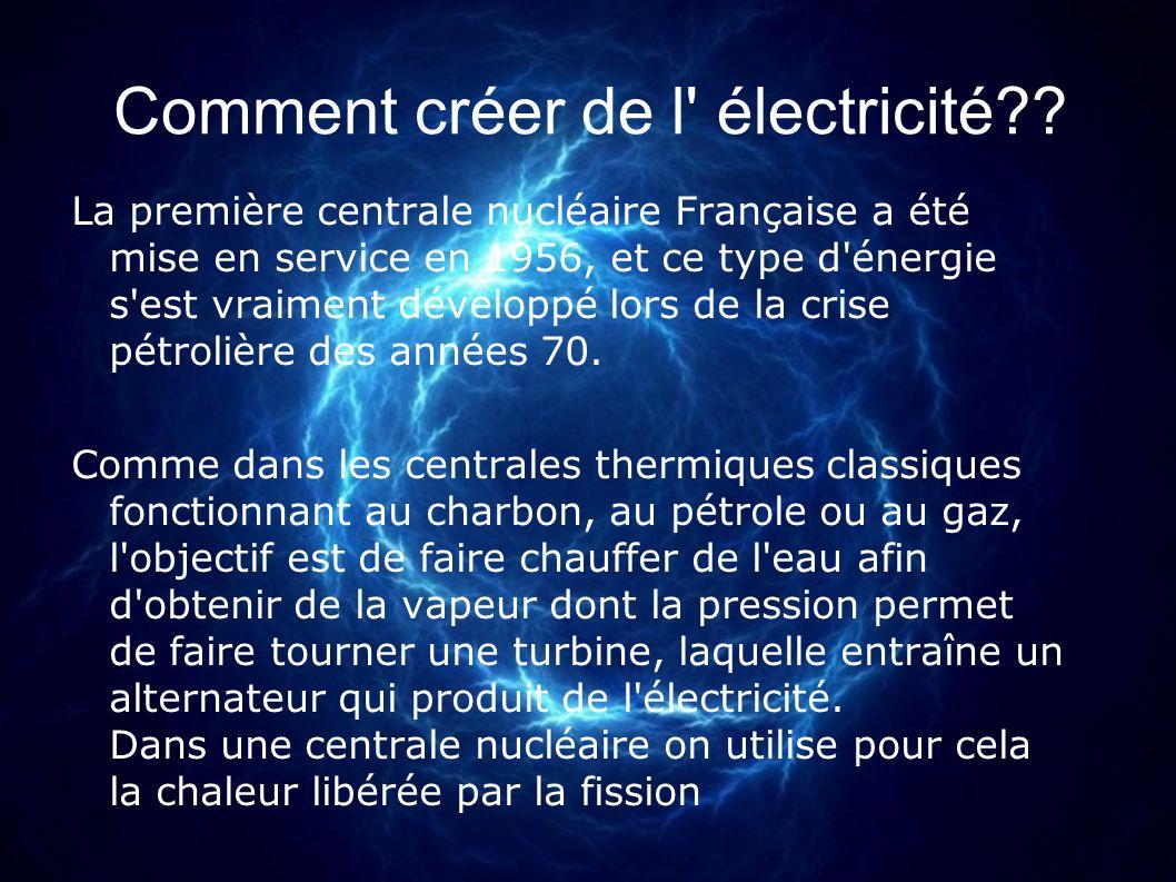 Comment créer de l' électricité?? La première centrale nucléaire Française a été mise en service en 1956, et ce type d'énergie s'est vraiment développ