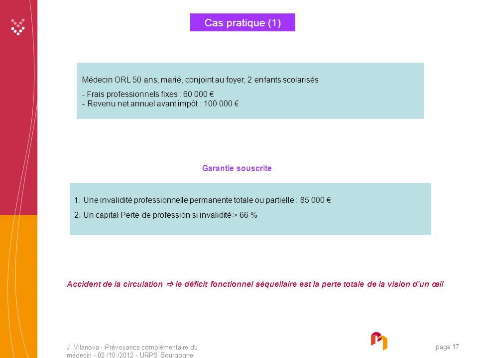 J. Vilanova - Prévoyance complémentaire du médecin - 02 /10 /2012 - URPS Bourgogne 05 /2010 page 17 Cas pratique (1) Médecin ORL 50 ans, marié, conjoi