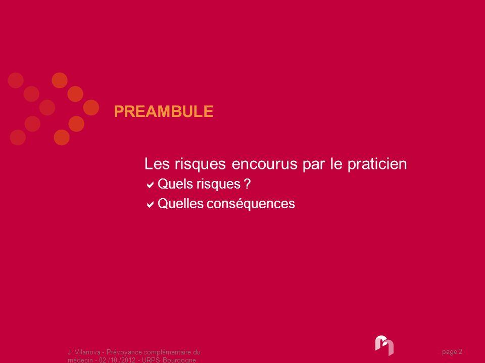 J. Vilanova - Prévoyance complémentaire du médecin - 02 /10 /2012 - URPS Bourgogne 05 /2010 page 2 PREAMBULE Les risques encourus par le praticien Que
