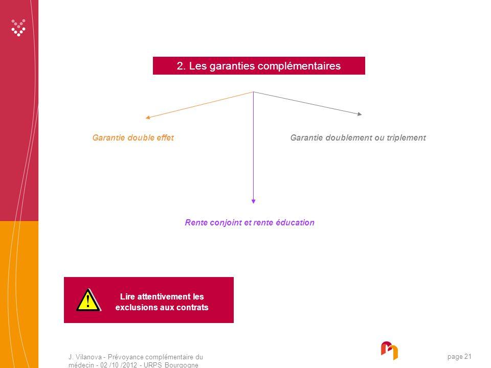 J. Vilanova - Prévoyance complémentaire du médecin - 02 /10 /2012 - URPS Bourgogne 05 /2010 page 21 2. Les garanties complémentaires Garantie double e