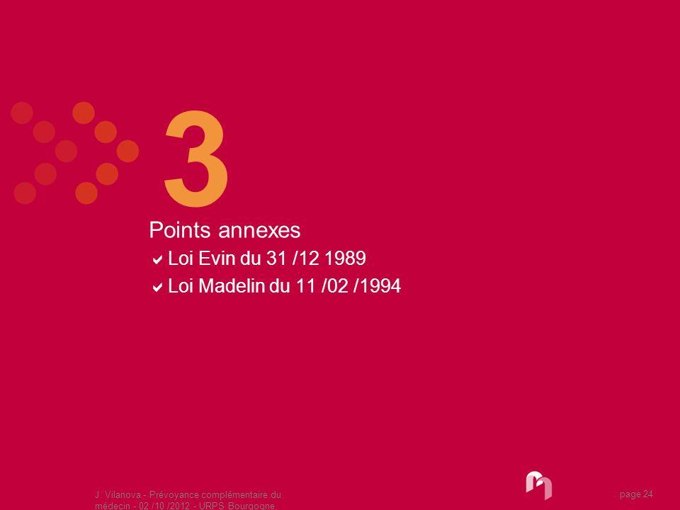 J. Vilanova - Prévoyance complémentaire du médecin - 02 /10 /2012 - URPS Bourgogne 05 /2010 page 24 3 Points annexes Loi Evin du 31 /12 1989 Loi Madel