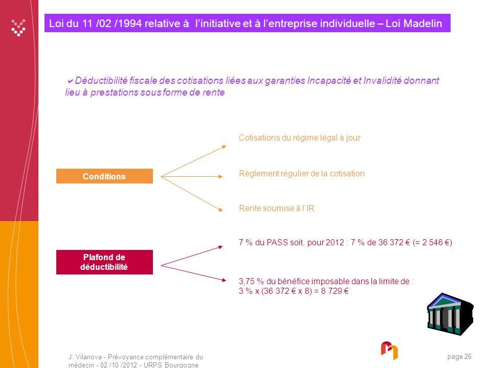 J. Vilanova - Prévoyance complémentaire du médecin - 02 /10 /2012 - URPS Bourgogne 05 /2010 page 26 Loi du 11 /02 /1994 relative à linitiative et à le