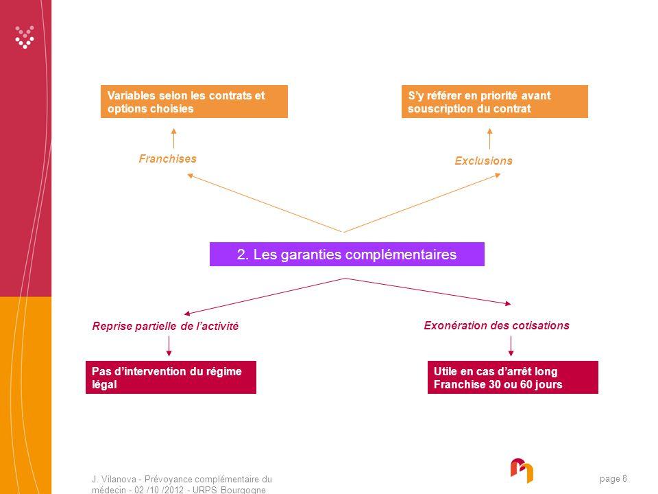 J. Vilanova - Prévoyance complémentaire du médecin - 02 /10 /2012 - URPS Bourgogne 05 /2010 page 8 2. Les garanties complémentaires Exclusions Franchi