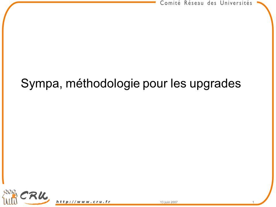 13 juin 20071 Sympa, méthodologie pour les upgrades