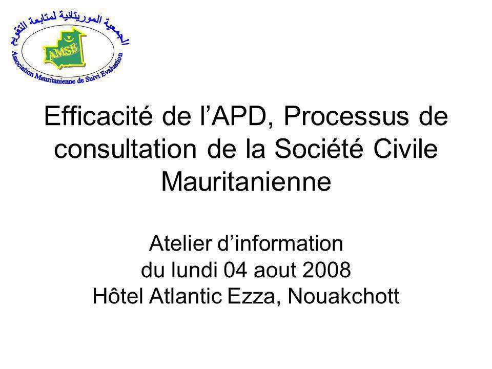 Efficacité de lAPD, Processus de consultation de la Société Civile Mauritanienne Atelier dinformation du lundi 04 aout 2008 Hôtel Atlantic Ezza, Nouakchott