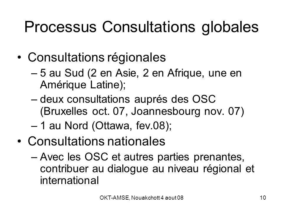 OKT-AMSE, Nouakchott 4 aout 0810 Processus Consultations globales Consultations régionales –5 au Sud (2 en Asie, 2 en Afrique, une en Amérique Latine); –deux consultations auprés des OSC (Bruxelles oct.
