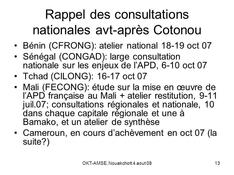 OKT-AMSE, Nouakchott 4 aout 0813 Rappel des consultations nationales avt-après Cotonou Bénin (CFRONG): atelier national 18-19 oct 07 Sénégal (CONGAD): large consultation nationale sur les enjeux de lAPD, 6-10 oct 07 Tchad (CILONG): 16-17 oct 07 Mali (FECONG): étude sur la mise en œuvre de lAPD française au Mali + atelier restitution, 9-11 juil.07; consultations régionales et nationale, 10 dans chaque capitale régionale et une à Bamako, et un atelier de synthèse Cameroun, en cours dachèvement en oct 07 (la suite?)